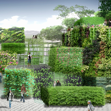 Mandarina Duck loves: plant 'bricks' in Chinese sculpture park